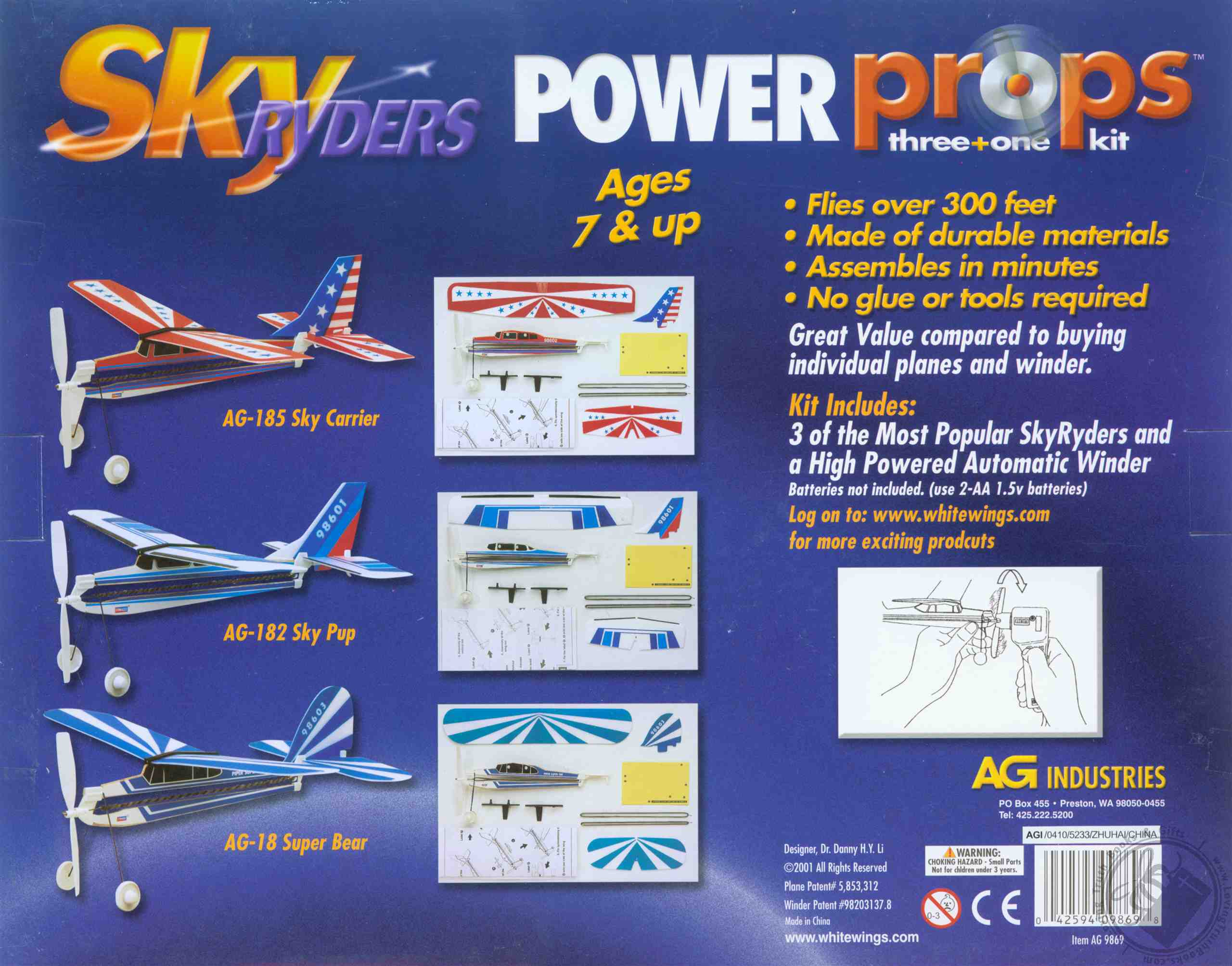 Sky Ryders Power Props 3 Model Kit With Electric Rubber