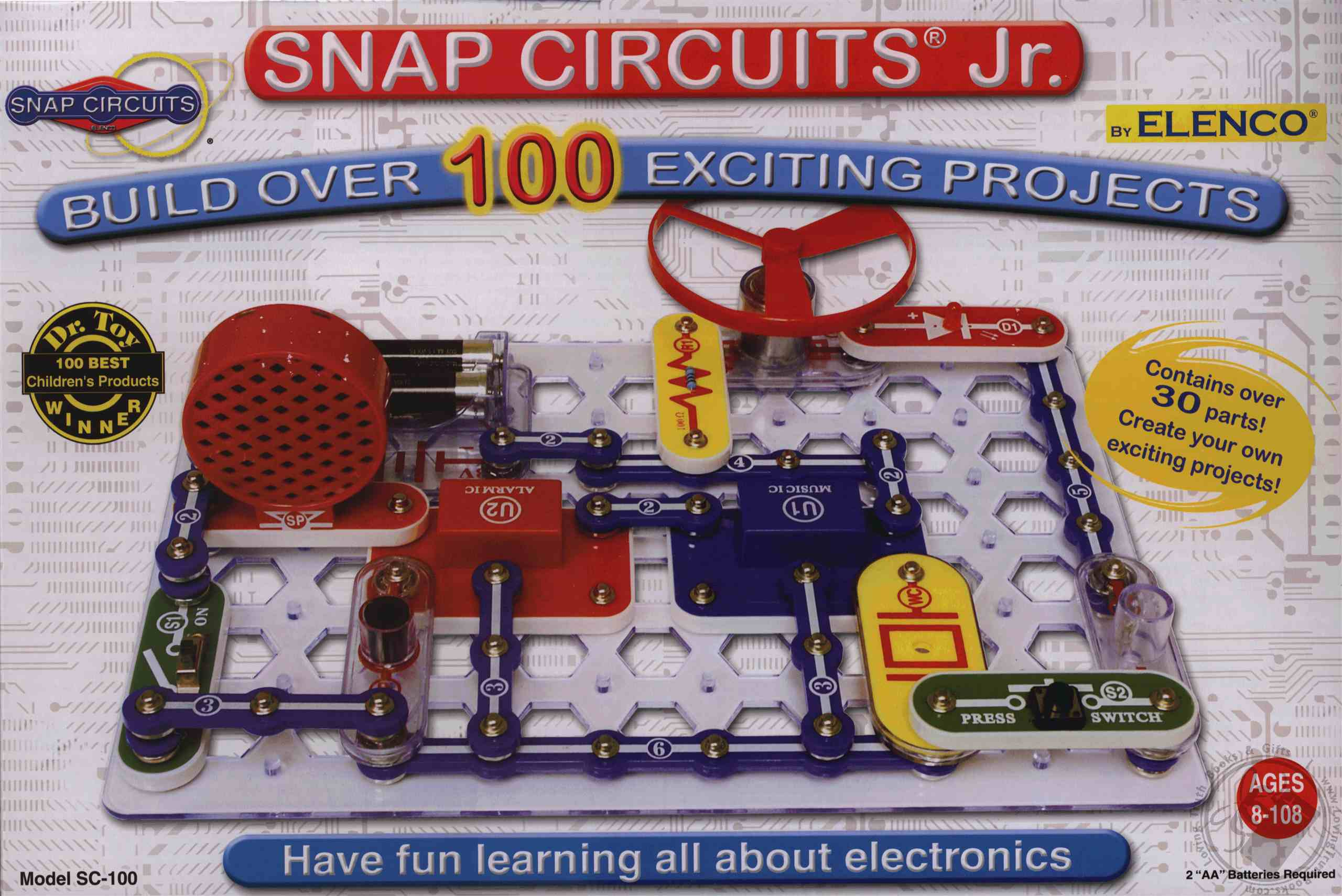 Snap Circuits Jr 100 In1 Sc Electronic Experiment Kit By Elenco Electronics Electrical Project Kid Educational Views Click To Preview