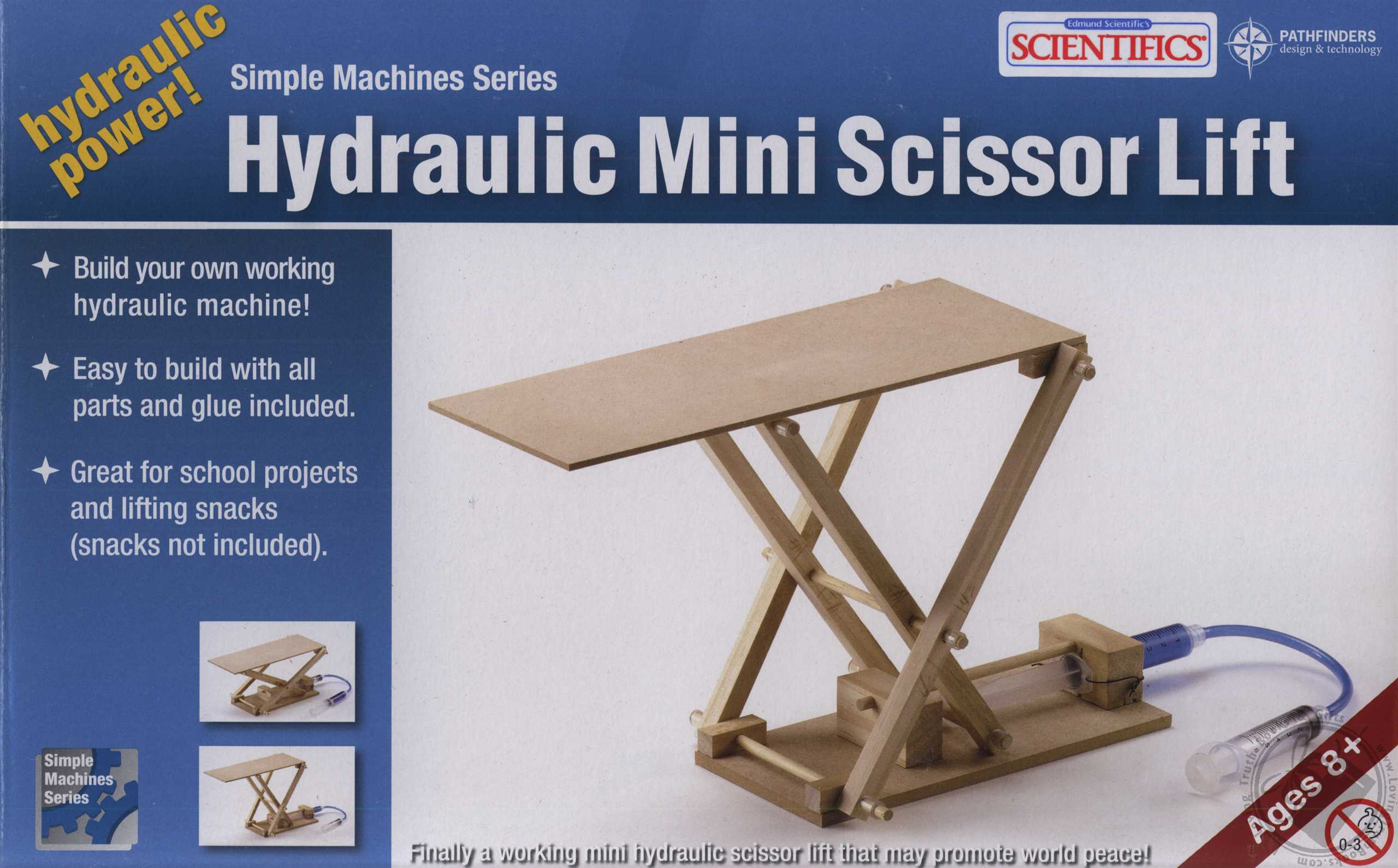 Simple Machines Series: Wooden Hydraulic Mini Scissor Lift (For Ages