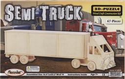 3-D Wooden Puzzle: Semi Truck (Wood Craft Construction Kit) 65 Pieces Ages 7 and Up (Puzzle/ Wooden),Puzzled Inc