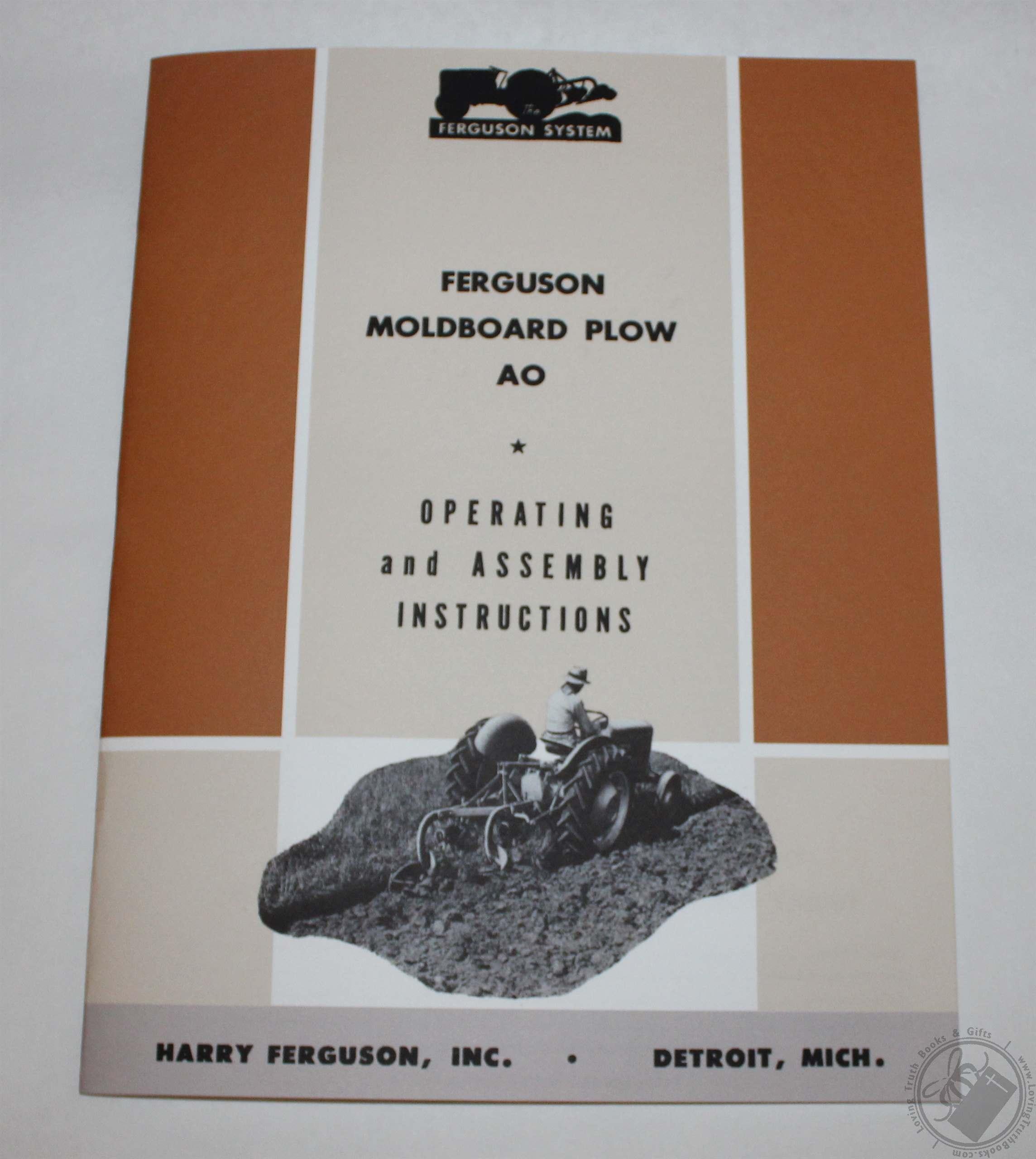 Ferguson Ao Moldboard Plow Operators Manual  U0026 Parts Book