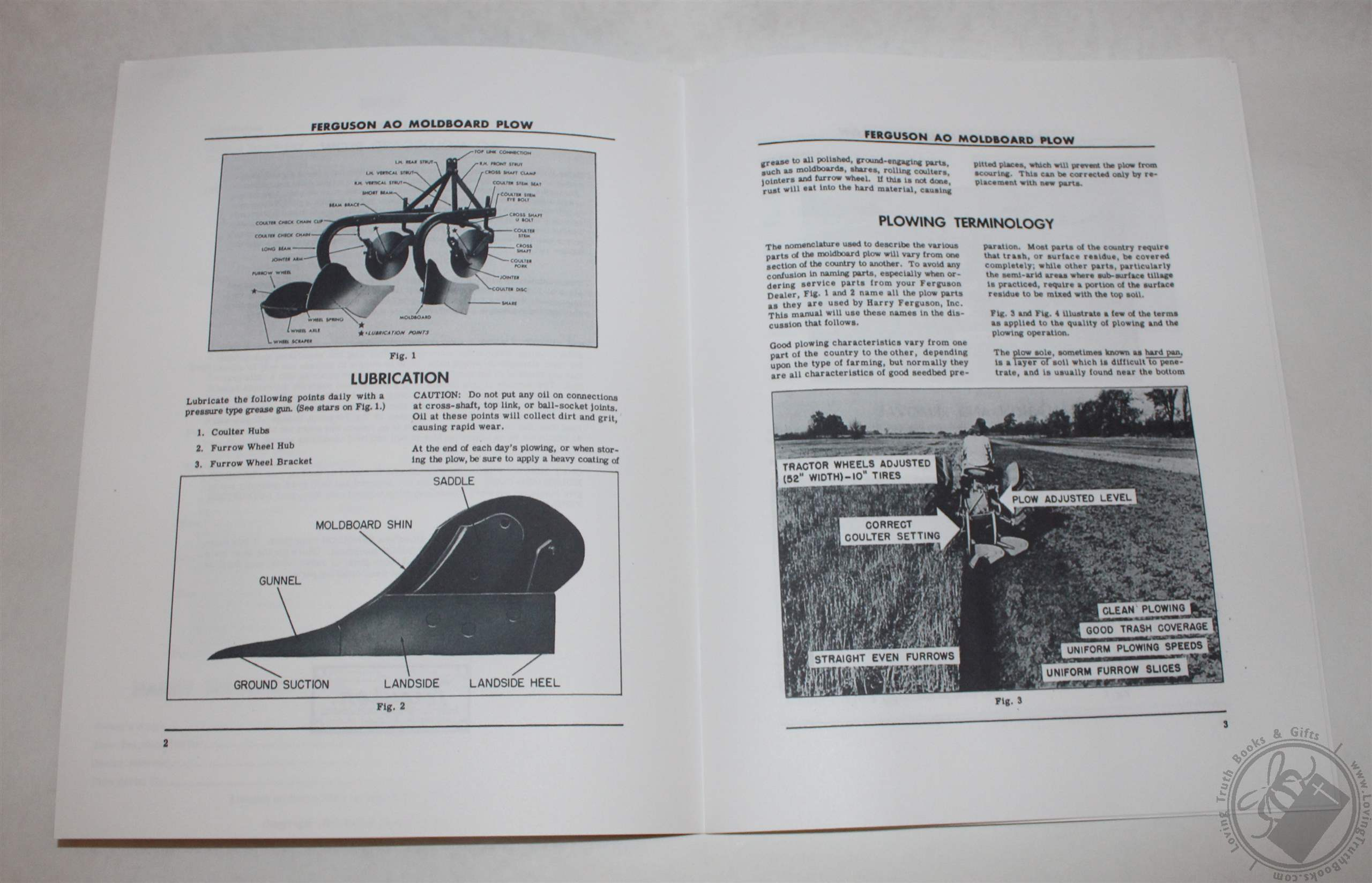 Ferguson Ao Moldboard Plow Operators Manual  U0026 Parts Book