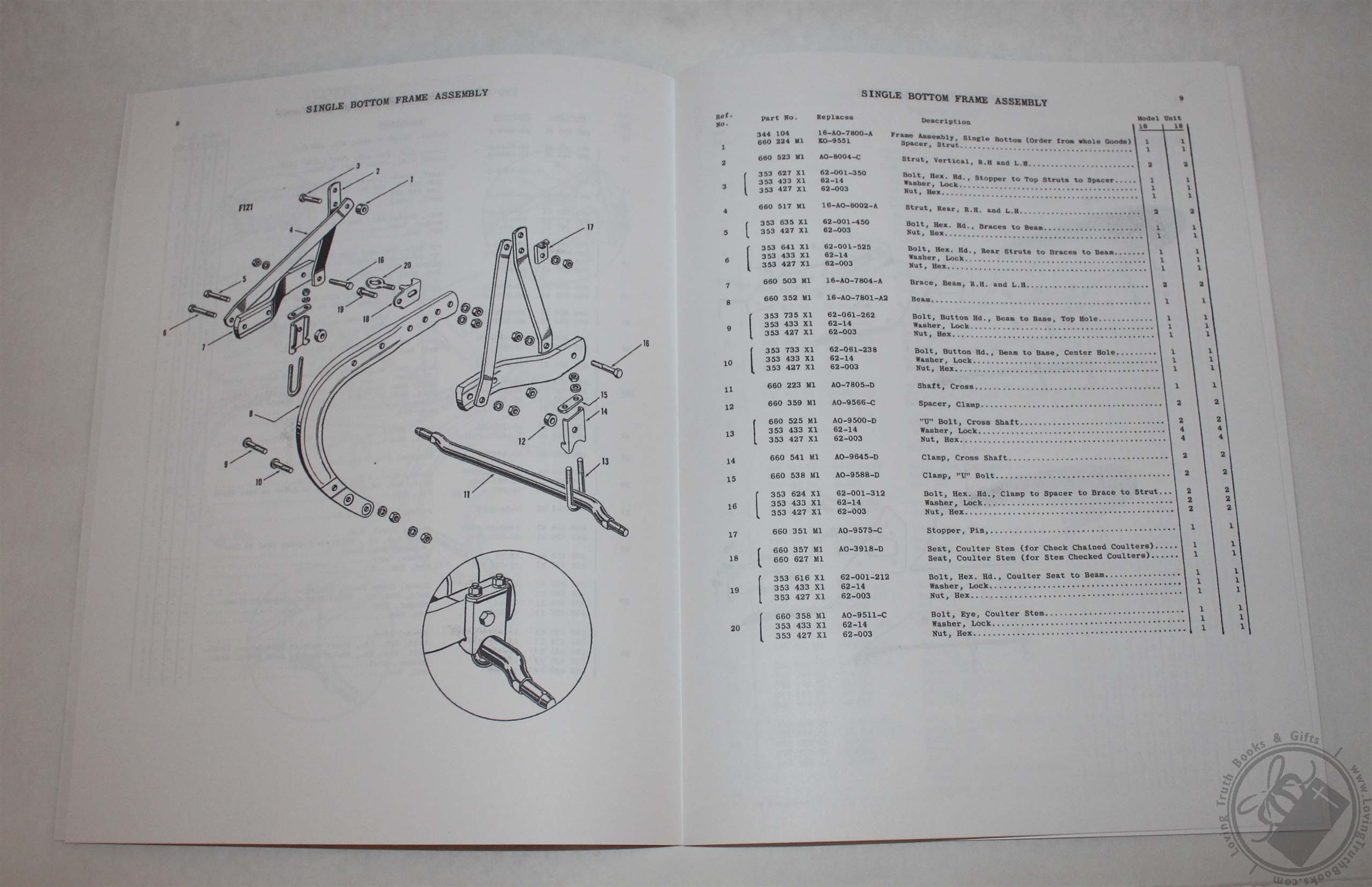Ferguson Ao Moldboard Plow Parts Book    List  Part Manual
