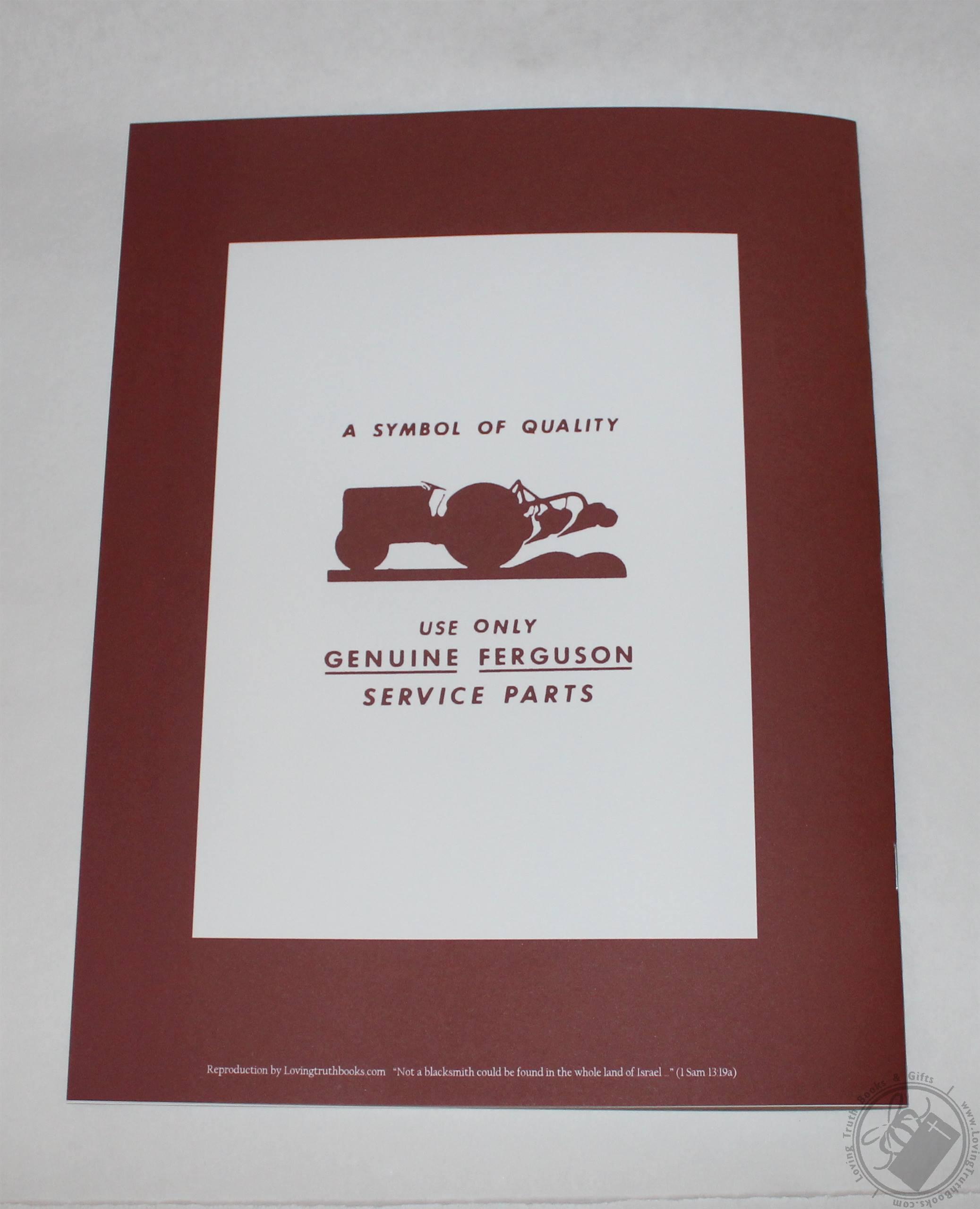 Ferguson Ao Moldboard Plow Parts Book    List  Part Manual  Reference Guide By Harry Ferguson Inc